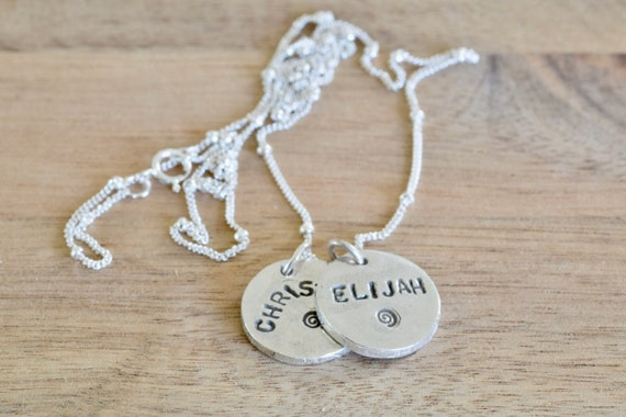 Silver name charm necklace - name charm necklace - fine silver name charm - kids name charm - mommy necklace - round name charm - minimal