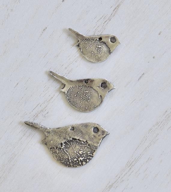 Fingerprint Birdy Necklace Set - 3 sizes fingerprint bird necklace - family fingerprint necklace - kid fingerprint necklace - memorial gift