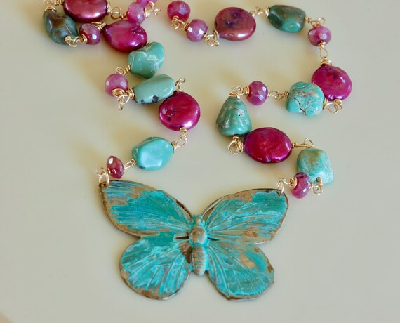 Butterfly Necklace - Seaside Butterfly Necklace - Verdigris jewelry - statement necklace - mixed metal jewelry - pearl necklace - butterfly