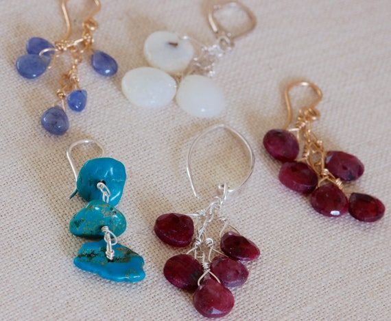 Boho Earring Collection - Ruby, Turquoise, Solar quartz, Tanzanite