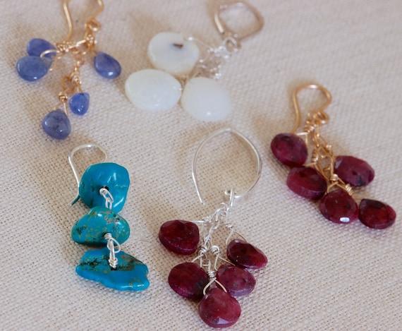 Boho Earring Collection - Ruby, Turquoise, Solar quartz, Tanzanite