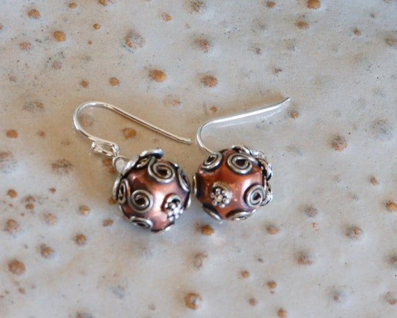 Copper Earring - Silver Earring - filigree earring - ornate earring - handmade earring - Bali Earrings - Copper and Silver Earring