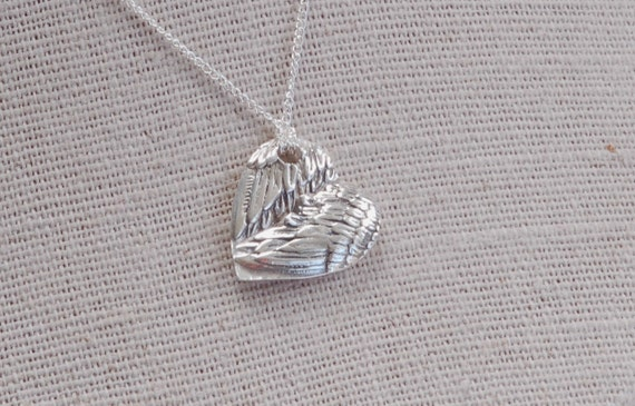 Remembrance Jewelry - Fingerprint Jewelry - Angel Wing Heart Pendant - baby footprint necklace