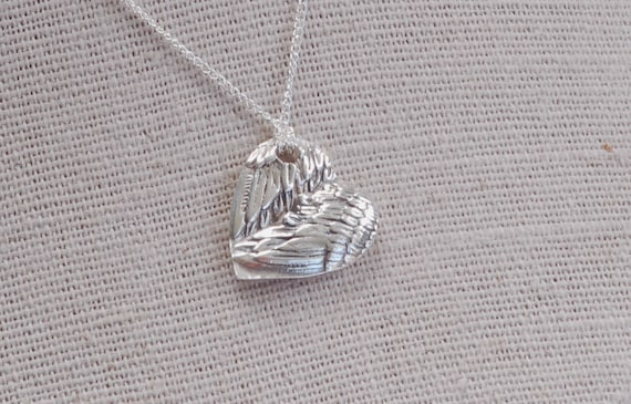 Remembrance Jewelry - Fingerprint Jewelry - Angel Wing Heart Pendant
