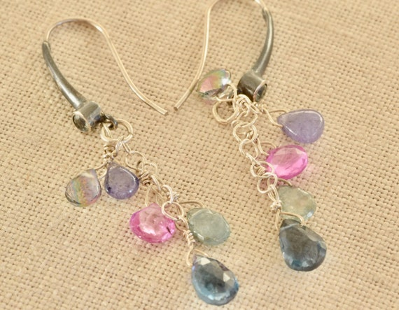 London Blue Topaz dangle earrings - Ruby - tanzanite - mystic quartz - apatite - dangle earring - multi stone earring - semi precious earrin