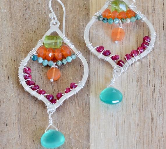 Statement earring - handmade earring - Semi precious earring - colorful earring - semi precious earring - ruby earring - multi-stone earring