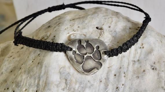 Dog Paw Bracelet - cat paw bracelet - fingerprint bracelet - fingerprint baseball bracelet - macrame bracelet - silver bracelet