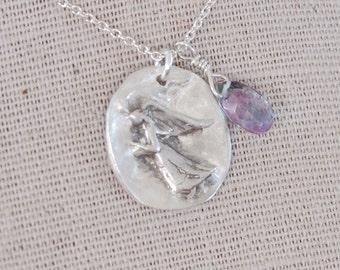 Fingerprint Remembrance Necklace - An Angel with Gratitude Necklace