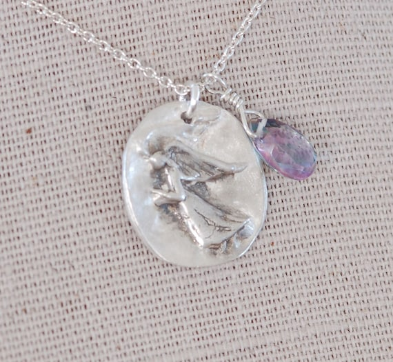 Mothers day gift Gift for Mom - Fingerprint jewelry - Angel Necklace - Guardian Angel necklace - angel wing jewelry - guardian - grief gift