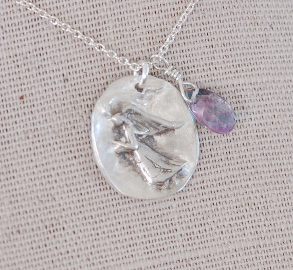 Angel Necklace - Guardian Angel necklace - angel wing jewelry- Fingerprint Remembrance Necklace - An Angel with Gratitude Necklace