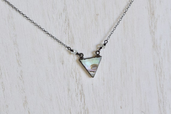 Triangle Necklace - Abalone Necklace - Shell Necklace - Dainty Necklace - Layering Necklace - petite necklace - geometric necklace - ocean