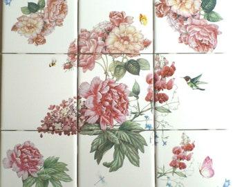 Fruits Flowers Birds Tile Mural Kitchen Bathroom Wall Backsplash Ceramic 2487