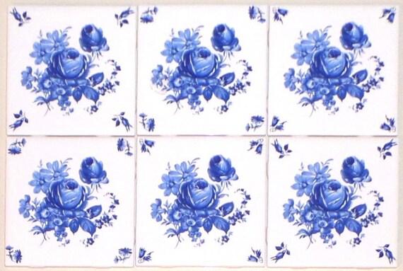 "Delft Theme Flower with Blue Flower Corners Ceramic Tile 4.25/"" Kiln Fired Decor"
