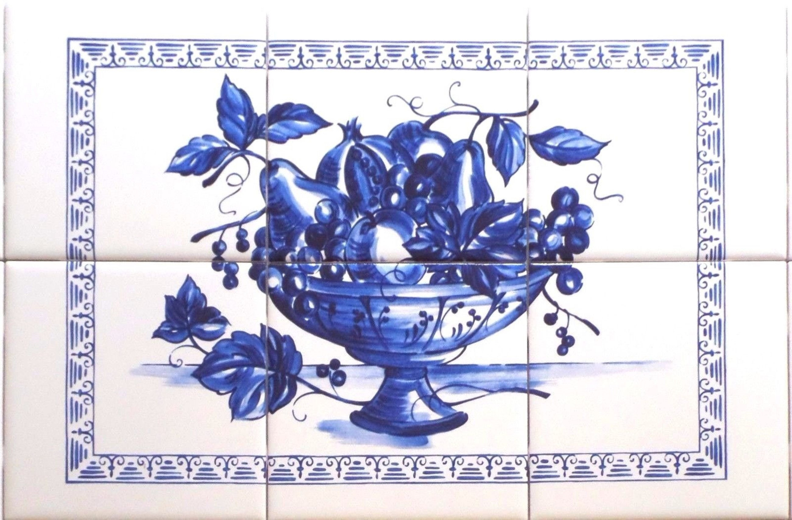 Blue Fruit Ceramic Tile Mural 6pc 18 X 12 Kiln Etsy