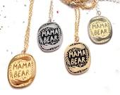 Mothers Day, Mama Bear Enamel Pendant Necklace, gift for mothers, gift for mum, mothers day gift