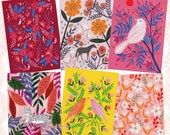 Animals and Florals Postcard Set, Bird Art, Animal Illustration, Colourful Postcard, Greetings Card, Hand Drawn, Lee Foster-Wilson