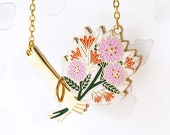 Bouquet Necklace - Pink, flower necklace, flower gift, gift for her, Limited Edition