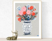 Flowers Always Poster, Floral wall art, Flower illustration, postcard poster, Monet quote, countryside art