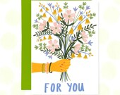 For You Greeting Card, Blank Card, Bouquet, Bunch of Flowers, Card for Friend, Card for Mum, Just Because Card, Flower Illustration