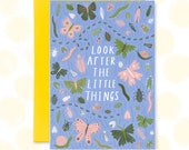 Look After the Little Things Greetings Card, Blank Card, Insect Card, Nature Lover, Birthday Card