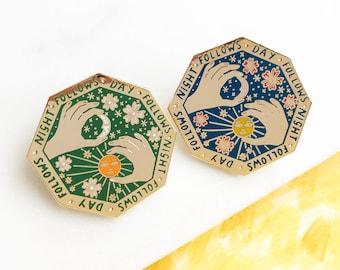 Night Follows Day Enamel Pin Badge, Celestial Jewellery, Sun and Moon Pin, Lapel Pin, Hexagon Brooch