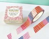Brushy Stripes Washi Tape, Red, Blue, Journal Tape, Bujo Accessories, Masking Tape, Scrapbooking Tape, Stationery