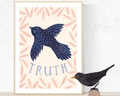 Truth Poster, Wall Decor, Home Decor, Bird Art, Bird Illustration, Bird Poster, Bird Home Decor, Pastel Colours, Bird Wall Art, Bird Drawing