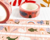 Reconnect Washi Tape pink, Washi Tape UK, Journal Tape, Cute Stationery, Bujo Accessories, Planner Tape, Pink
