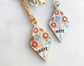 Hope Enamel Necklace, Hope Jewellery, Floral Jewellery, Flowers Necklace, Gift for Her, Tough Times Gift, Pendant Necklace
