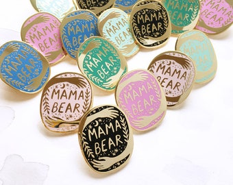 Mama Bear Enamel Pin Badge