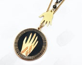 Reaching Hands Enamel Pendant Layered Necklace
