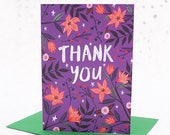 Thank You Card - Purple Floral