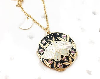 Floral Moth Pendant Necklace - Gold, Luna Moth, Nature Lover Gift, Enamel Necklace, Moth Jewelry