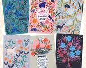 Animals and Florals Postcard Set, Bird Art, Small Art Print, Colourful Postcard, Greetings Card, Hand Drawn, Lee Foster-Wilson