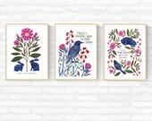 Art Print Set, 'Shelter' Posters - Set of Three, Illustrated Wall art, Gallery Wall, Poster Set, Wall Decor, Art Print
