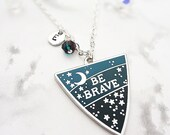 Be Brave Personalised Birthstone Pendant Necklace - Silver