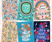 Happy and Positive Quotes Postcard Set, Blank Cards, Small Art Print, Notecards, Hand Illustrated, Set of 6, Postcard Print