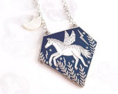 Pegasus Enamel Necklace - Silver, Pegasus Jewellery, Celestial Jewellery, Horse Necklace, Equine Jewellery, Winged Horse
