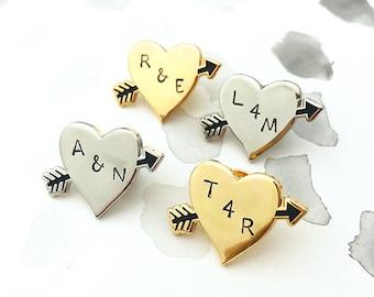 Arrow Heart Personalised Pin Badge