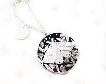 Floral Moth Enamel Pendant Necklace - Silver