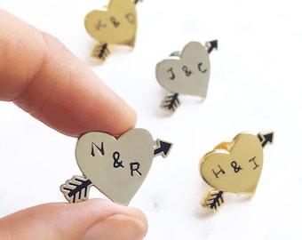 Arrow Heart Personalised Pin Badge, Love Enamel Pin, Wedding Gift, Custom Enamel Pin, Groomsman Gift