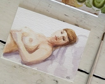 Mini watercolor reclining naked woman ACEO  nudity collectible erotic art