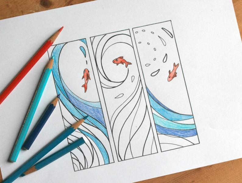 Segnalibri Con Onde E Pesci Da Stampare E Colorare Etsy
