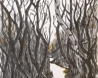 Late Winter - Original ACEO ink pen drawing watercolor