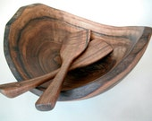 Beautiul Carved (not turned) English Walnut Salad Bowl with Matching Salad Paddles