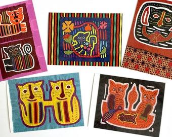 Vintage Mola Cats Ethnic Tribal Folk Art Post Cards Set 10