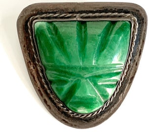 Large Early Vintage Mexican Carved Green Onyx Face Mask Pin Sterling Silver Brooch
