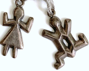 Vintage Native American Silver Charms   1960s Pair Figural Man Woman Cast Sterling Silver   Petroglyph Pictograph Dancer DHW  CFW