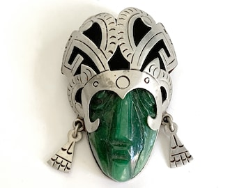 Huge 1940s Taxco Mexico Pin Pendant Carved Green Jade Face Mask Silver Brooch Pre-Eagle