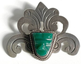 Mexico Pin Carved Green Jade Face Mask Silver Brooch Pre-Eagle 925 Plata Sterling Silver